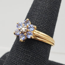 Load image into Gallery viewer, Tanzanite & Diamond Solid 10Kt Yellow Gold Flower Ring Size 7 9982F - PremiumBead Alternate Image 10