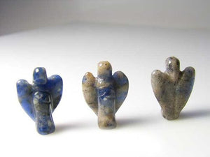 2 Loving Hand Carved Blue Sodalite Guardian Angels 9284SD | 21x14x8mm | Blue white - PremiumBead