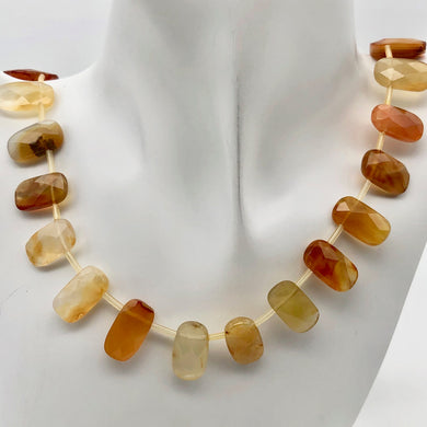 Premium! Faceted Natural Carnelian Agate 18x10x6mm Rectangular Bead Strand - PremiumBead Primary Image 1