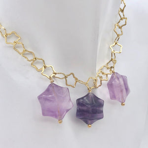 Natural Fluorite & 22K Vermeil Star 18 inch Necklace 209245Fl - PremiumBead Alternate Image 2