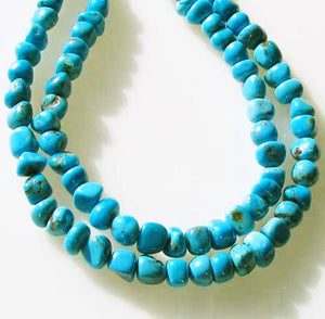 Natural American Turquoise Nuggety Bead Strand 5x6.5mm to 7x7mm 109433 - PremiumBead