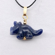 Load image into Gallery viewer, Sodalite Triceratops Dinosaur with 14K Gold-Filled Pendant 509303SDG - PremiumBead Primary Image 1