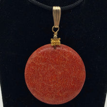 "Load image into Gallery viewer, Big Cell Red Coral Disc & 14K Gold Filled Pendant | 30mm, 1.88"" (long) 