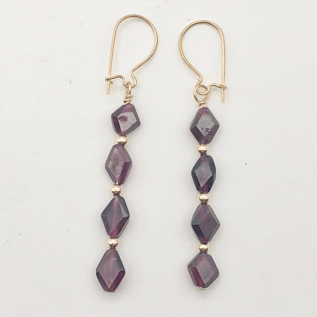 14K Gold Filled Red Pyrope Garnet Earrings | 2 inches long | - PremiumBead Primary Image 1