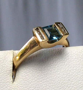 Blue topaz & Diamonds Solid 14Kt Yellow Gold Ring Size 7 9982Aj - PremiumBead