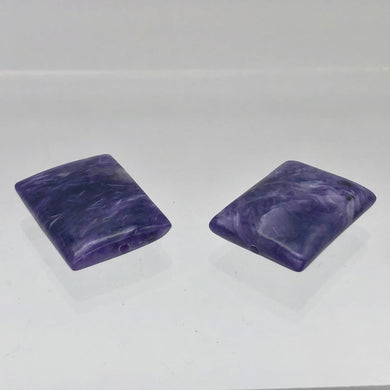 75cts of Rare Rectangular Pillow Charoite Beads | 2 Beads | 26x20x8mm | 10871D - PremiumBead