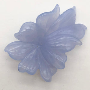 42cts Exquisitely Hand Carved Blue Chalcedony Flower Pendant Bead - PremiumBead Alternate Image 5