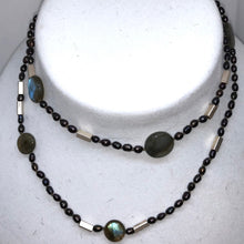 Load image into Gallery viewer, Elegant Black-Cherry FW Pearl Labradorite 27 inch Necklace 200021 - PremiumBead Primary Image 1
