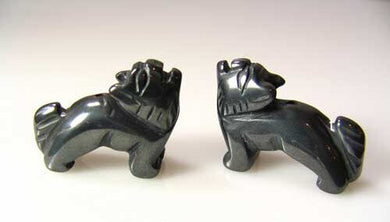 howling-2-carved-hematite-standing-wolf-coyote-beads-22x16x8mm-silver-black-16035