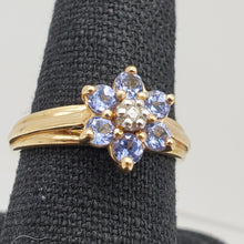 Load image into Gallery viewer, Tanzanite & Diamond Solid 10Kt Yellow Gold Flower Ring Size 7 9982F - PremiumBead Alternate Image 2
