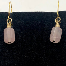 Load image into Gallery viewer, Madagascar Rose Quartz Tube Bead 14k Gold Filled Semi Precious Stone Earrings - PremiumBead Alternate Image 3