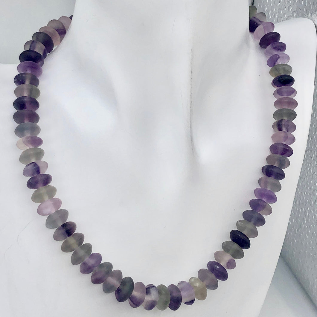 Fantastic! Multi-Hue Frosted Fluorite 10x5mm Wheel-Rondelle Bead Strand - PremiumBead
