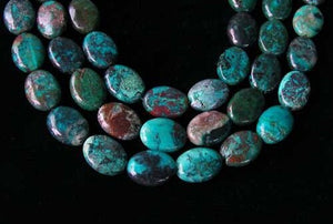 "Natural Chrysocolla 16x12mm Oval Bead 8"" Strand 10423HS - PremiumBead"