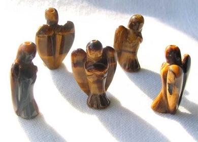 2 Loving Carved Tigereye Guarding Angel Beads 009284TE | 21x14x8mm | Golden Brown - PremiumBead