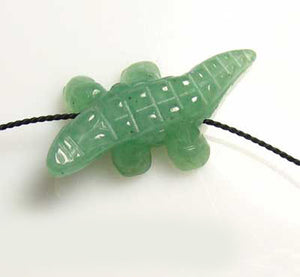 Green Gators 2 Carved Aventurine Alligator Beads | 28x14x7mm | Green - PremiumBead