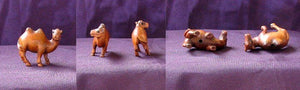 Spittin' Carved & Signed Boxwood Camel Ojime/Netsuke Bead | 31x21x15mm | Brown - PremiumBead