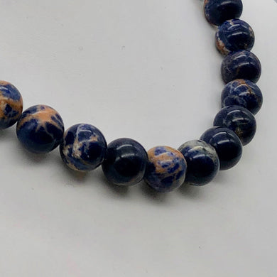Blue Sodalite with White and Orange 12mm Round Bead 8 inch Strand 10781HS - PremiumBead