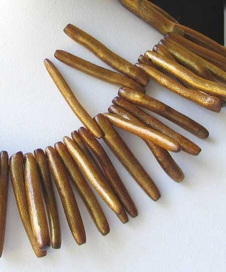 4 Natural Golden Bronze Coral Briolette Beads 9680 - PremiumBead Primary Image 1