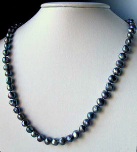 Blue Peacock Baroque Freshwater Pearl & Silver 22 inch Necklace 9814 - PremiumBead Alternate Image 2