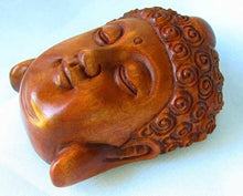 Load image into Gallery viewer, serenity-carved-buddha-boxwood-ojime-netsuke-bead-45x34x21-5mm-brown-12395