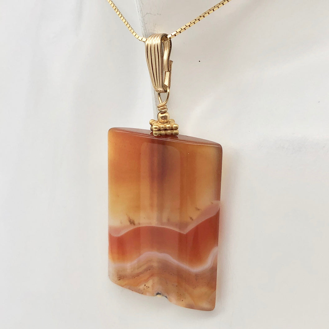 Hand Carved Carnelian Agate and 14K Gold Filled 2 1/8