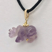 Load image into Gallery viewer, Hand Carved Rhino Amethyst Rhinoceros and 14k Gold Filled Pendant 509275AMLG - PremiumBead Alternate Image 6