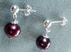 Stunning Black Grape Fresh Water Pearl Sterling Silver Earrings 300032 - PremiumBead
