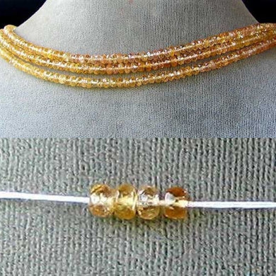 Natural 3.75x2.5mm Imperial Topaz Faceted Roundel Bead 54cts. Strand 106187 - PremiumBead
