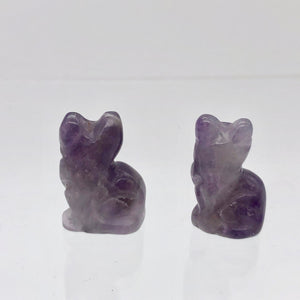 Adorable! Amethyst Sitting Carved Cat Figurine | 21x14x10mm | Purple - PremiumBead
