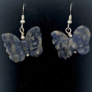 Flutter Carved Sodalite Butterfly Sterling Silver Earrings | 1 1/4 inch long | - PremiumBead Alternate Image 3