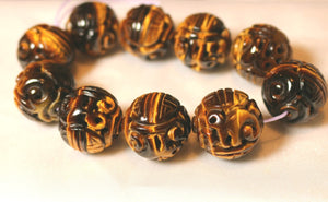 19mm Premium Tiger's Eye Carved in Hongshan Style Long Life Dragon Bead 4843B1 | 19mm | Golden Brown - PremiumBead