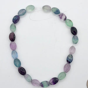 "Rare! Carved 14x10mm Oval Fluorite 13"" Bead Strand! - PremiumBead Alternate Image 8"