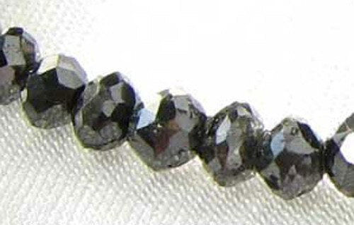 1 Fancy Color 0.43cts Natural Black Diamond Roundel Bead 9892H - PremiumBead
