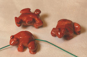 Prosperity 2 Hand Carved Red Jasper Frog Beads | 20x18x9.5mm | Red - PremiumBead