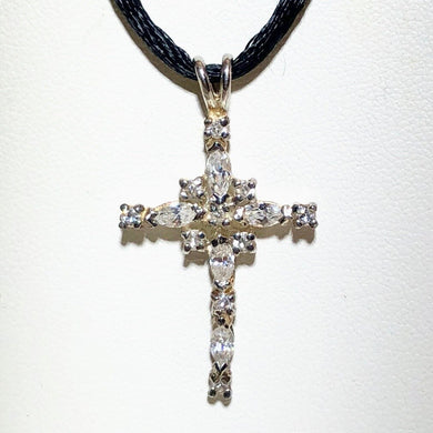 Shimmering Cubic Zirconia & Sterling Cross Pendant 10549 - PremiumBead Primary Image 1