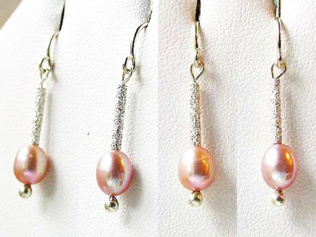 Stardust Pink Pearls with Solid Sterling Silver Earrings 6553 - PremiumBead Primary Image 1