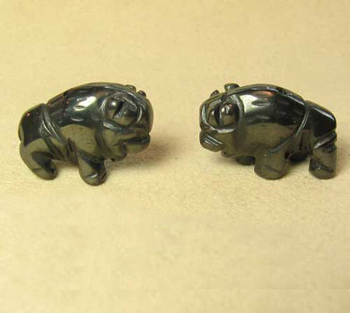 Stability 2 Hematite Hand Carved Bison / Buffalo Beads | 21x14x8mm | Silver black - PremiumBead