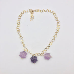 Natural Fluorite & 22K Vermeil Star 18 inch Necklace 209245Fl - PremiumBead Alternate Image 7