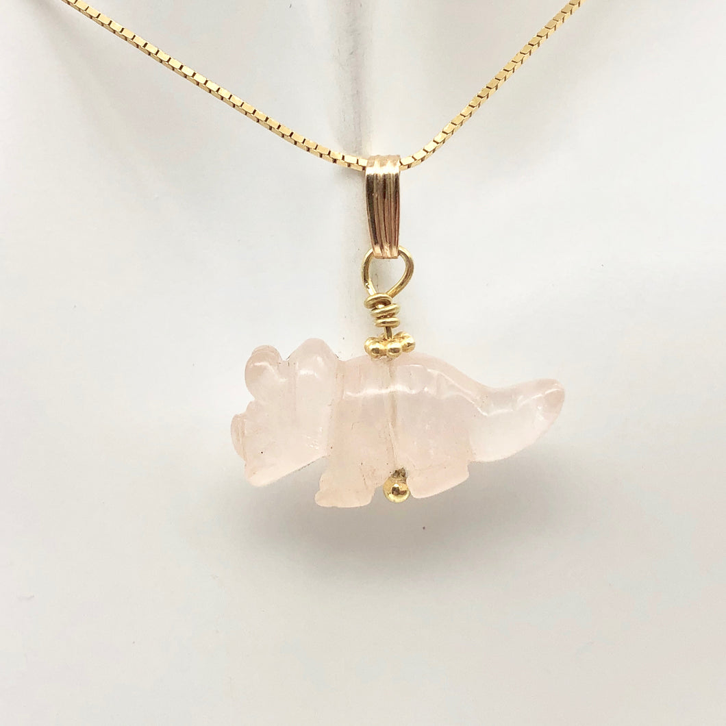 Rose Quartz Triceratops Pendant Necklace|SemiPrecious Stone Jewelry|14K Pendant | 22x12x7.5mm (Triceratops), 5.5mm (Bail Opening), 1