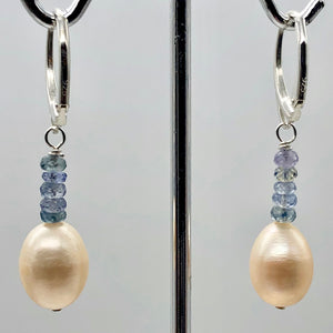 AAA Natural Pink 14x10mm Pearl and Blue Sapphires Solid Sterling Silver Earrings - PremiumBead Alternate Image 4