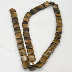 Wildly Exotic Tigereye Square Coin Bead 16 inch Strand for Jewelry Making - PremiumBead