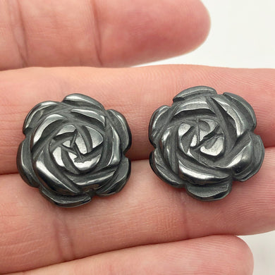 Bloomin' 2 Carved Hematite Rose Flower Beads | 21x7mm | Graphite | 9290HM - PremiumBead Primary Image 1