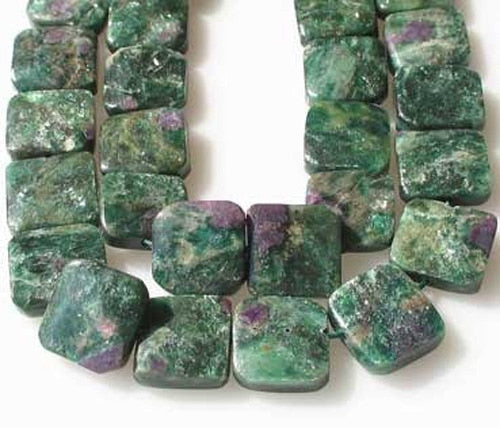3 Natural Ruby Fuschite 13x13mm Square Coin Beads 9575 - PremiumBead Primary Image 1