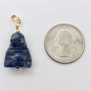 "Namaste Hand Carved Sodalite Buddha and 14K Gold Filled Pendant, 1.5"" Long - PremiumBead"