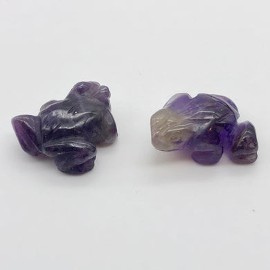 Prosperity 2 Hand Carved Amethyst Frog Beads | 20x18x9.5mm | Purple - PremiumBead Primary Image 1