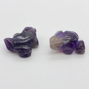 Prosperity 2 Hand Carved Amethyst Frog Beads | 20x18x9.5mm | Purple - PremiumBead