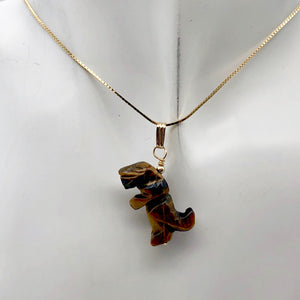 Tiger's Eye Tyrannosaurus Rex Dinosaur Pendant Necklace|14k Gold Filled Jewelry - PremiumBead