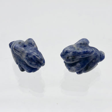 Hoppity 2 Hand Carved Sodalite Bunny Rabbit Beads | 21.5x12x9mm | Blue w/White - PremiumBead