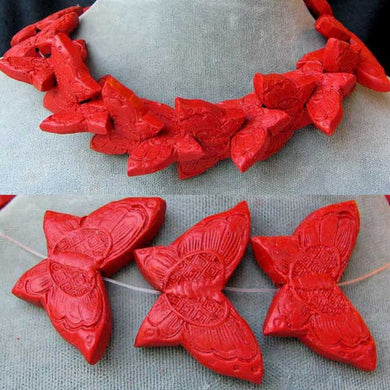 hand-carved-red-cinnabar-butterfly-bead-strand-34-5x23x7mm-red-15101