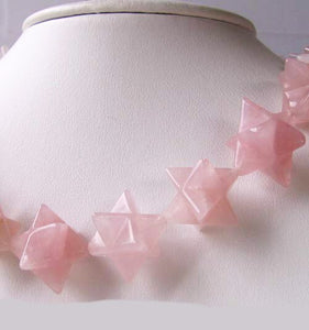 Kabbalah 2 Carved Rose Quartz Merkaba Star Beads | 25x15x15mm | Pink - PremiumBead Alternate Image 9